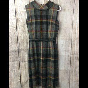 Vintage plaid mod wool dress